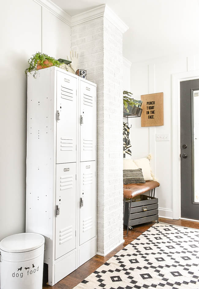white lockers in vintage modern mudroom
