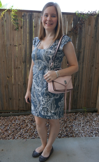 french connection paisley print sheath dress with silver accessories Rebecca Minkoff small Darren bag | away from blue