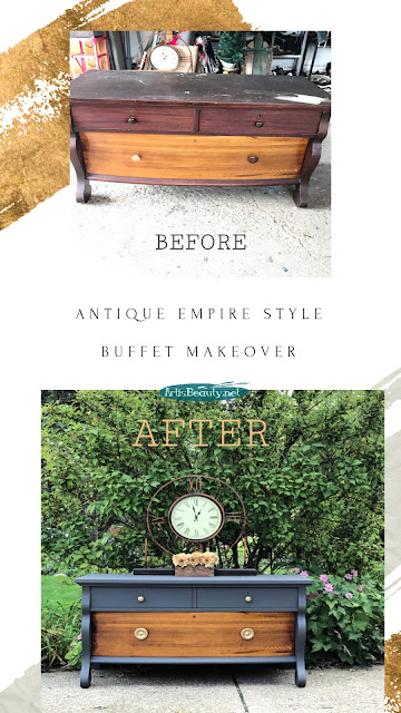 EMPIRE BUFFET MAKEOVER BEFORE AND AFTER DIY USING QUEENSTOWN GRAY GENERAL FINISHES MILK PAINT