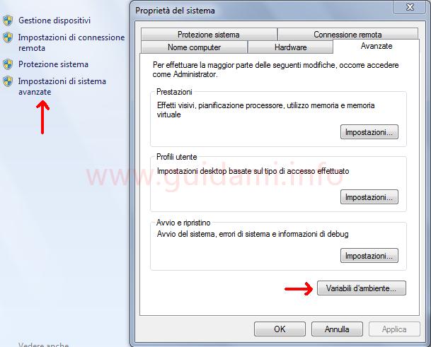 Windows Impostazioni di sistema avanzate finestra Proprietà di sistema Variabili d'ambiente