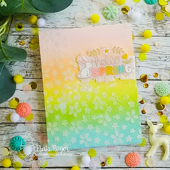 Hello Spring Card by Naki Rager | Hello Spring Stamp Set and Petite Flowers Stencil by Newton's Nook Designs #newtonsnook #handmade