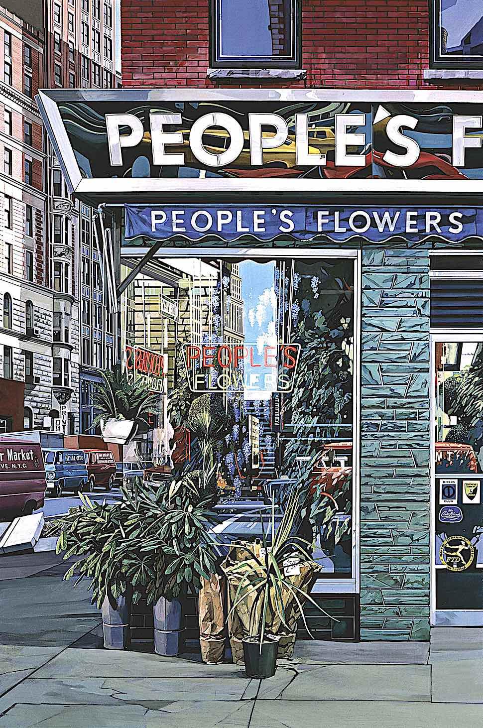 a Richard Estes painting of an urban flower store