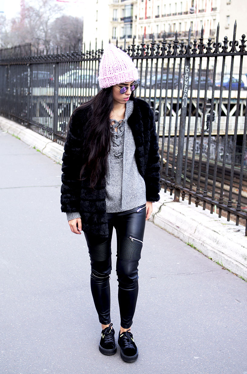 Elizabeth l pop of pink outfit blog mode l Zara Asos Puma creepers Rihanna Fenty l THEDEETSONE l http://thedeetsone.blogspot.fr