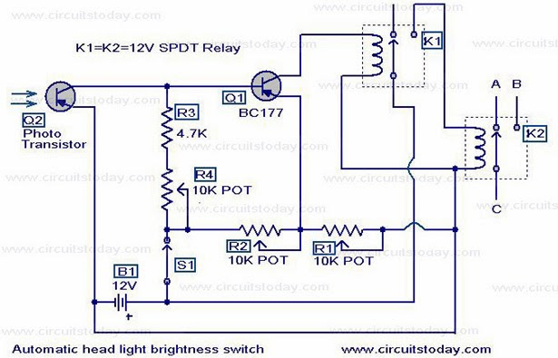 wiring diagram automatic car headlight dim switch system. Black Bedroom Furniture Sets. Home Design Ideas