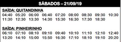 Horário de ônibus Quitandinha / Pinheirinho