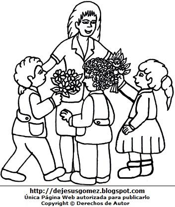 Imagen de una maestra o profesora sin color con sus alumnos para colorear o pintar. Dibujo de maestra de Jesus Gómez