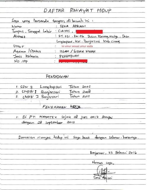 Cara Membuat Daftar Riwayat Hidup (CV) Tulis Tangan Atau Print