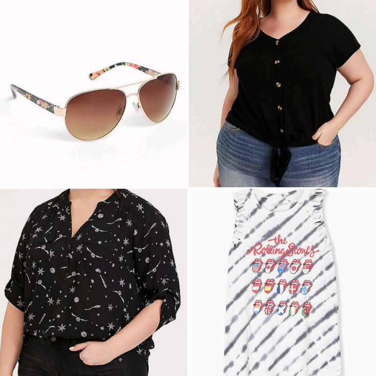 bblogger, bbloggers, bbloggerca, bbloggersca, psbloggers, plus sized blogger, torrid haul, summer 2020, harry potter, blouse, floral aviators, tie-front tee, the rolling stones, tie-dye, tank top, plus size style blogger