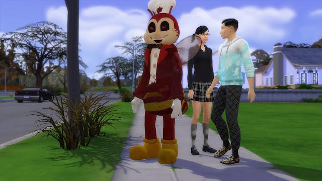 Sims 4 Jollibee Mascot and Cassandra Goth