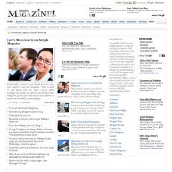 Simple Magazine blogger template with featured content template and 4 column fotter template. blig magazine template blogspot