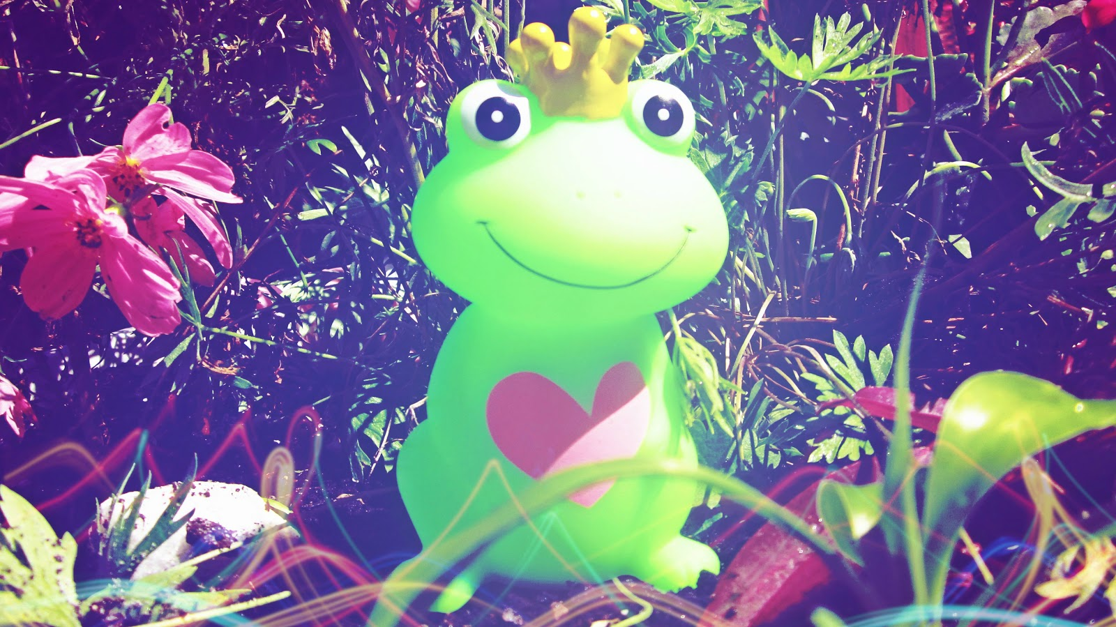 I've had to kiss a few frogs, green frog toy in a garden full of colorful flowers and plants, in direct sunlight