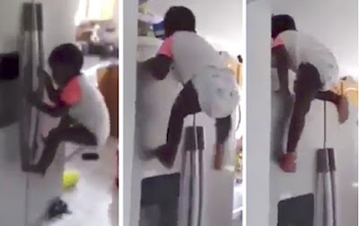 WHOSE BABY IS THIS!!! TODDLER SHOCKS PARENTS AS HE CLIMBS FRIDGE TO GET CEREAL (WATCH)