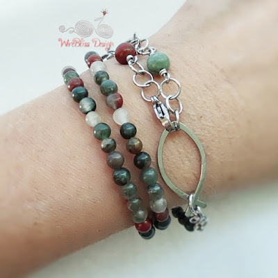 Face mask chain with Bloodstone and Wire Fish / Ichthus as Layered Bracelet