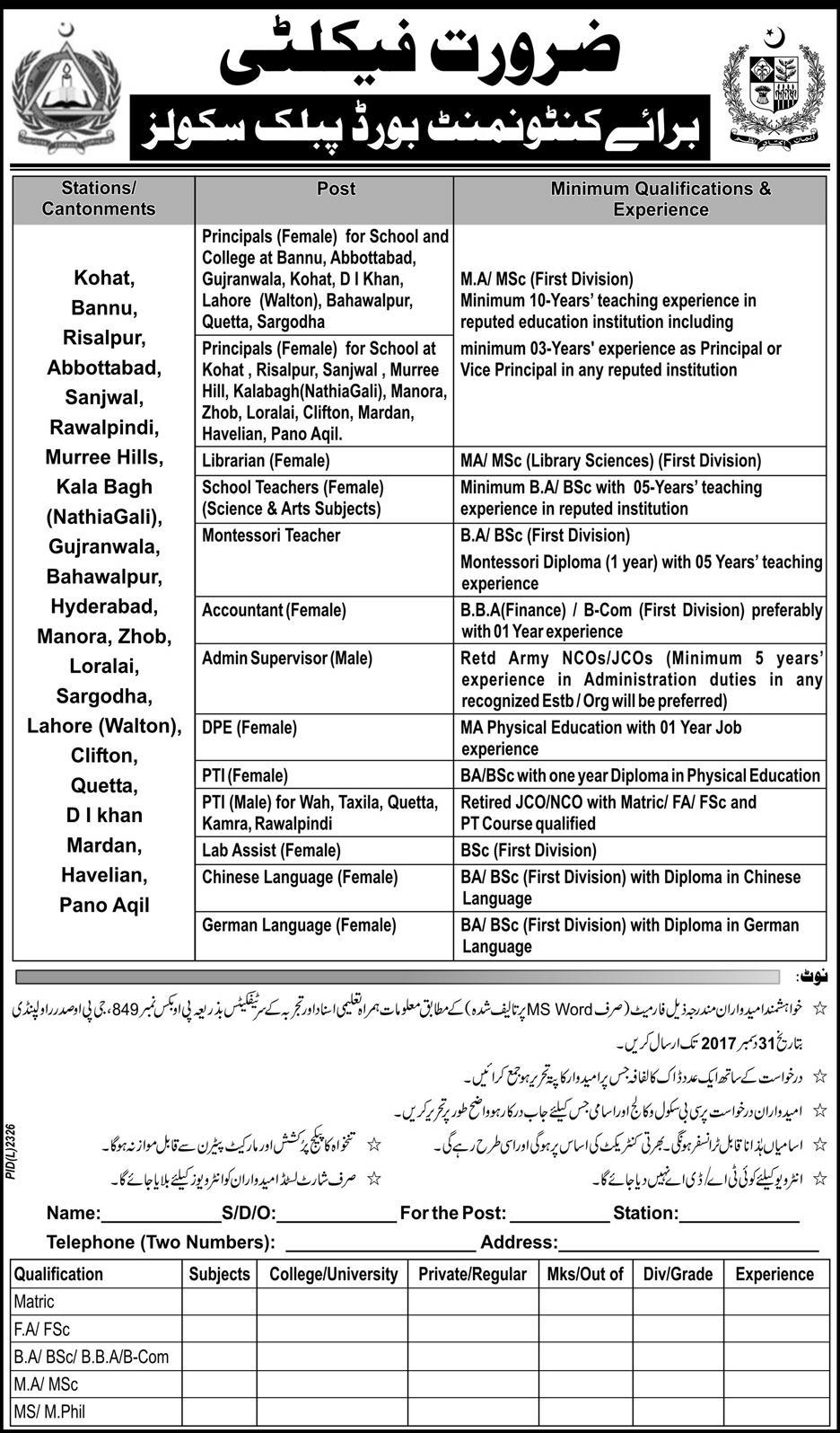 Jobs In Cantonment Board Public Schools And Girls College Multiple Cities Dec 2017