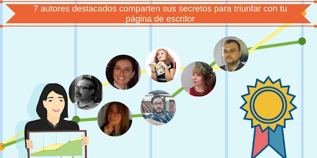 Foto de 7 escritores en una gráfica ascendente hacia el éxito