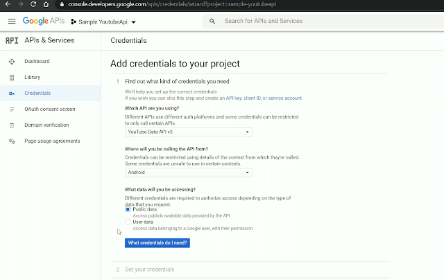 Setup Credentials on google Developers console