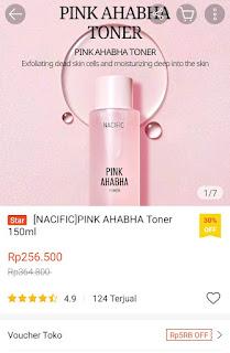 Nacific Pink AHA BHA Toner Harga
