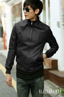 blazer cowok blazercowok.com jaket korean jas pria sk32 black c