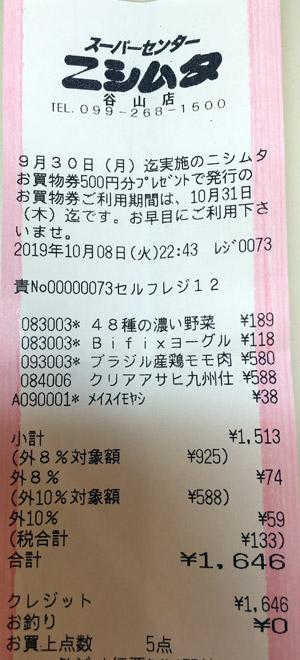 ニシムタ N'sCITY谷山店 2019/10/8 のレシート