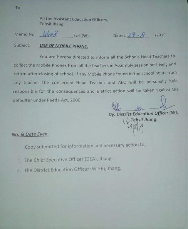 PROHIBITION OF USE OF MOBILE PHONES IN SCHOOLS IN TEHSIL JHANG