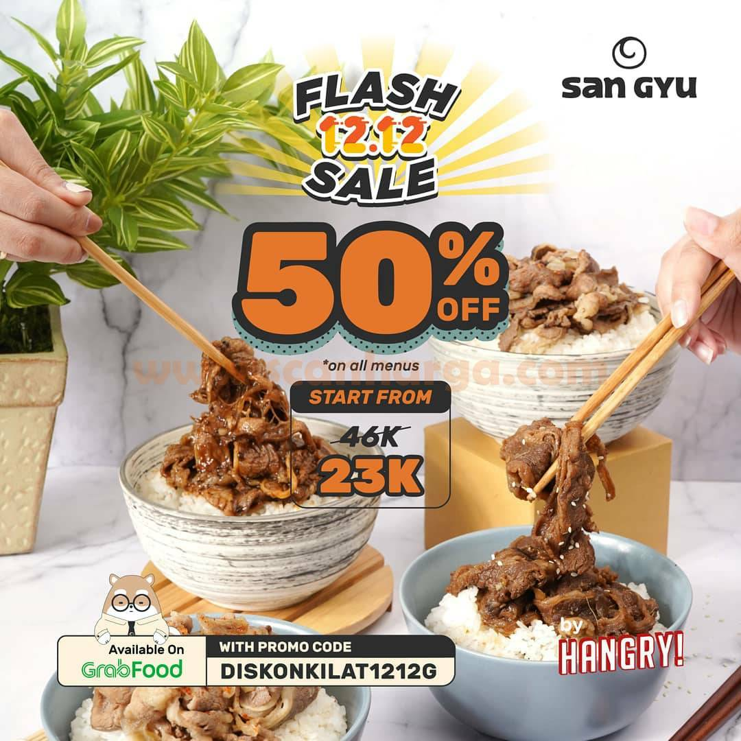 Promo San Gyu Flash Sale 12.12 - Diskon 50% Beef Bowl via Grabfood