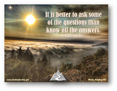 It is better to ask some of the questions than know all the answers. ~ James Thurber ~ (view above the smoke layer)