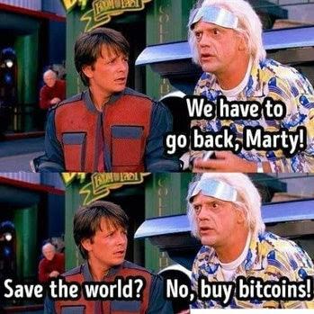 Zeitreisen witzig - Bitcoin in der Vergangenheit kaufen