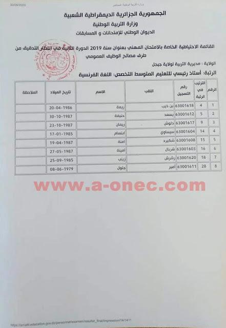 قائمة الناجحين في الامتحان المهني بعنوان سنة 2019 الدورة الثانية