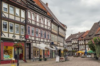Street with timbered buildings in Einbeck