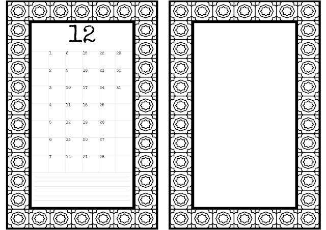 Kalendar Bulan 12 Disember Monthly Planner Booklet Printable Junk Journal Kit JPG Arabesque Octagon Star