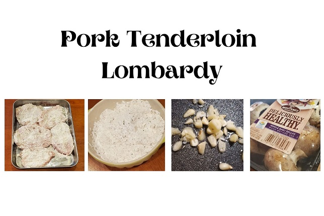 this is collage of how to make pork lombardy