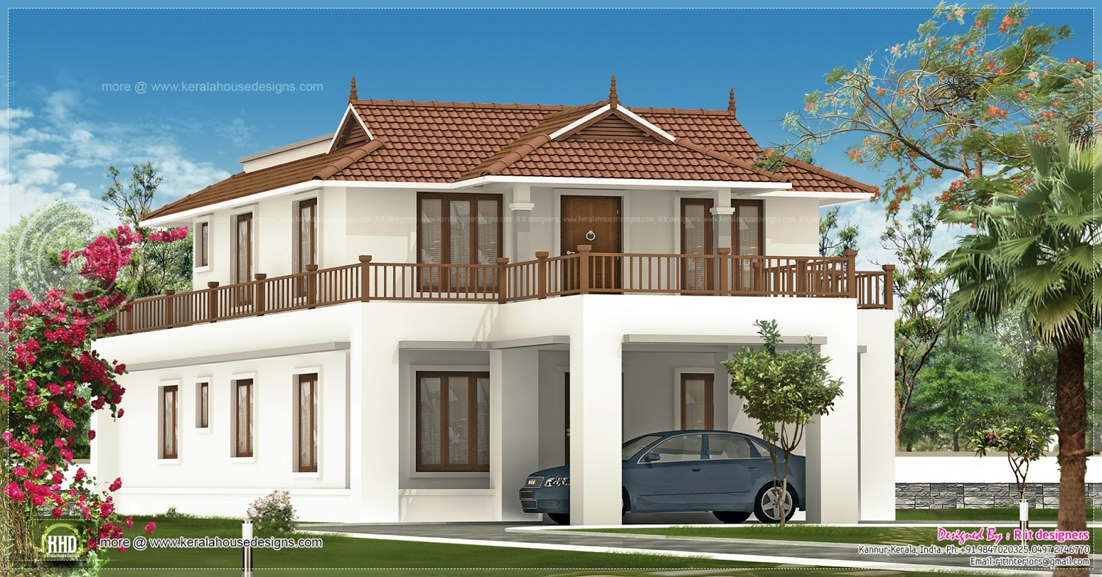 2820 square feet house exterior design home kerala plans for One floor house exterior design