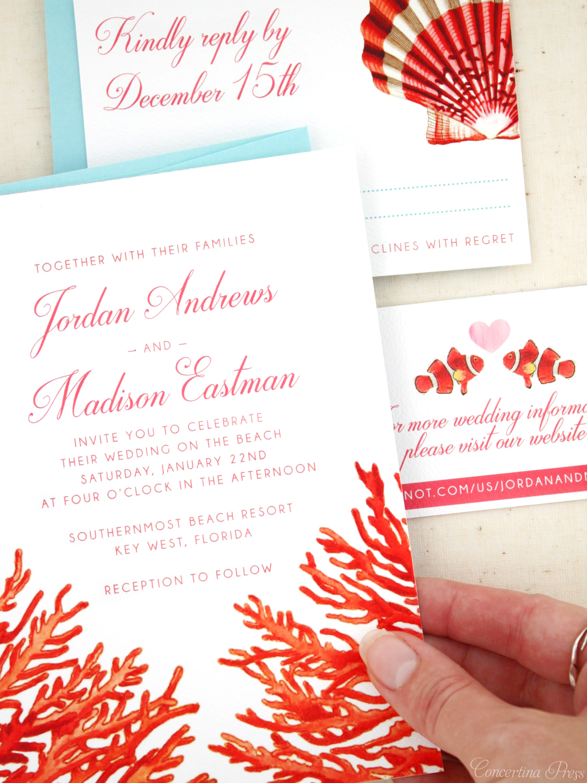 Red Coral Beach Wedding Invitations for Key West Wedding