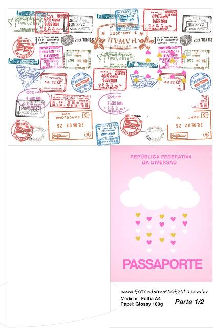 Imprimible con forma de Pasaporte de Lluvia de Bendiciones para Nena.