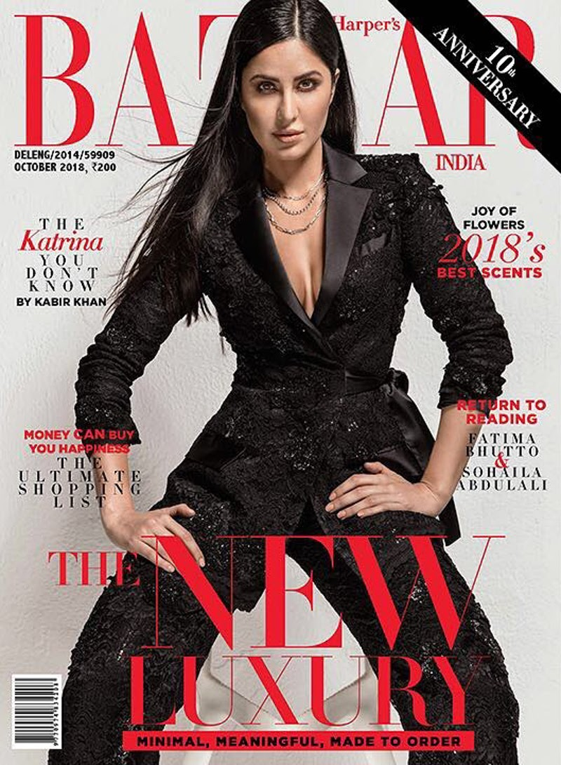 Cover page of Harper's Bazaar India is out with Stunning Katrina Kaif in Black Suit and Peplum Look.