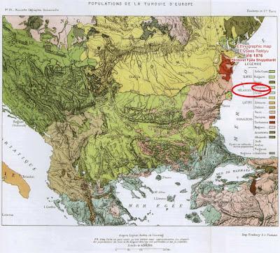 La mappa francese del 1878 afferma che gli albanesi provengono dai Pelasgi