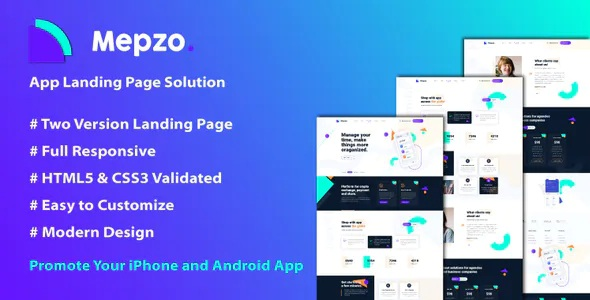 Best Mobile App Responsive Landing Page Template