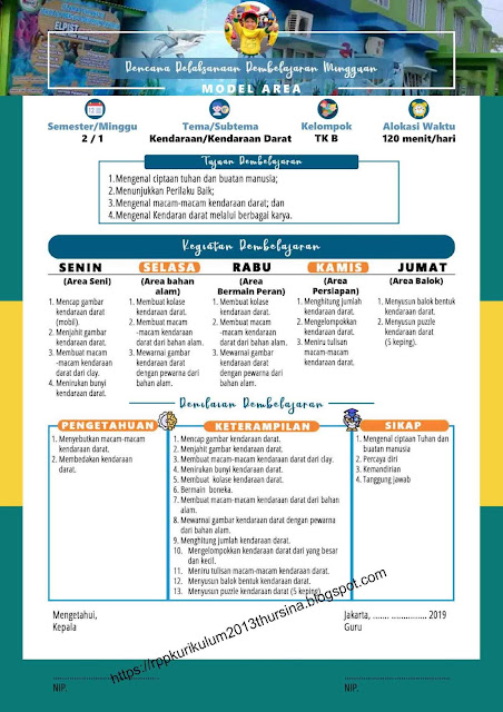 RPP 1 Lembar TK B Tahun Ajaran 2020-2021