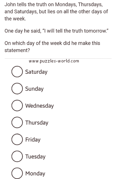 Truth and lies on days of the week puzzle