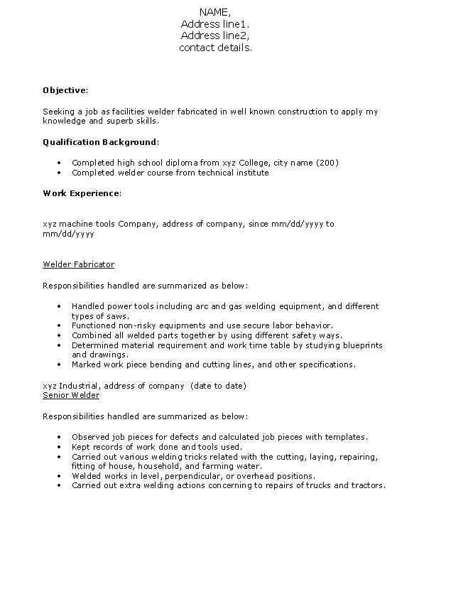 resume format for welder