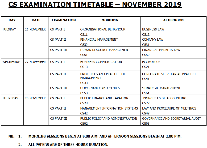 CS Examination Timetable – November 2019