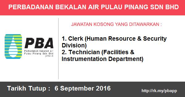 Jawatan Kosong di Perbadanan Bekalan Air Pulau Pinang Sdn Bhd