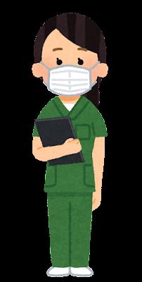 緑のスクラブを着た医療従事者のイラスト(女性)