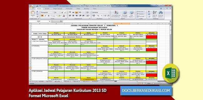 Contoh Aplikasi Jadwal Pelajaran Kurikulum 2013 SD Format Microsoft Excel