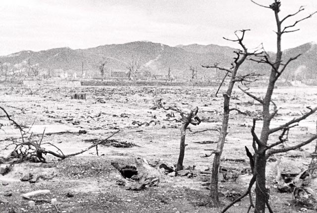 Devastation in Hiroshima following the atomic bomb blast on 6 August 1945 worldwartwo.filminspector.com