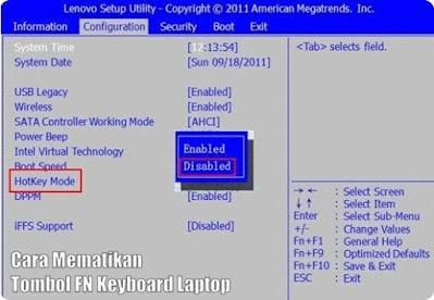 cara mematikan tombol FN keyboard laptop