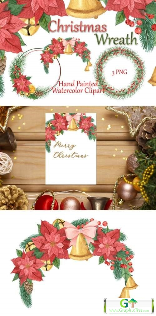 Christmas Frames. Watercolor Clipart [Stock Image] [illustrations]