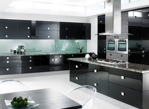 Modern black kitchen cabinets modern kitchen designs for Modern black and white kitchen designs