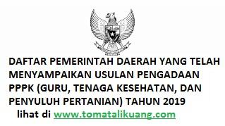 Daftar 305 Provinsi, Kabupaten, dan Kota yang Membuka Pendaftaran PPPK P3K Tahun 2019; tomatalikuang.com