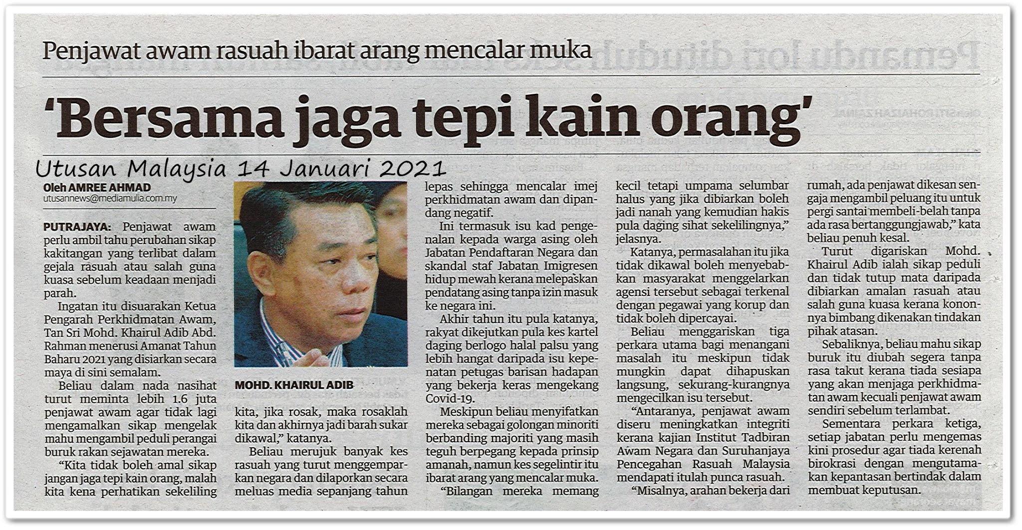 'Bersama jaga tepi kain orang' - Keratan akhbar Utusan Malaysia 14 Januari 2021